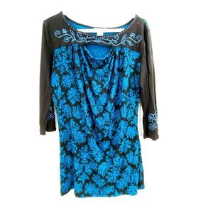 Krista Lee Embelished Rayon Tunic Sz M
